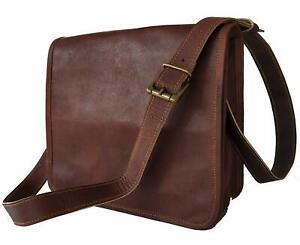 """Men's Real Goat Leather messenger bag laptop computer 18"""" case shoulder bag"""