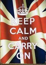NEW Keep Calm And Carry On British Flag Retro Tin Sign