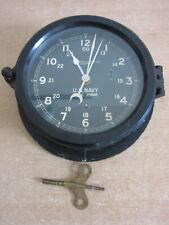 Vintage Chelsea Clock Co US NAVY ships wind up clock Black Bakelite WWII era