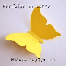 10 Farfalle 3D Gialle di carta lavorate a mano 10x7,3 cm