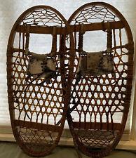 Vintage Snocraft Wooden Snow Shoes Norway Maine 28 X 13