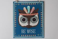 Owl Tribal Be Wise Metal Sign Plaque Hanging Picture Childrens Bathroom