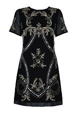 Charleston Flapper Gatsby 1920's Short Sleeve Sequin Dress 4 Colours 8 - 16 16 Black