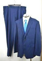 Peter Millar Mens Blue Suit Wool Unhemmed Pants Single Button Closure 46T