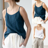 Women Sleeveless Solid Linen Sling Vest Backless Cozy Camisole Casual Tank Tops