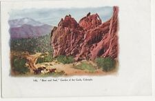 USA, Bear & Seal, Garden of The Gods Colorado Early Embossed Postcard, B419