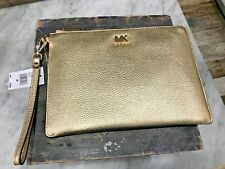 MICHAEL KORS Med Zip Clutch Pouch Wristlet in Gold Pebbled Leather $118 - New