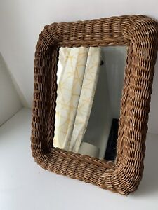 Shabby Chic Wicker Wall Mirror 16x12