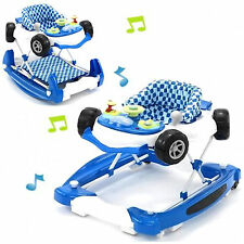 NEW MY CHILD BOYS CAR BABY WALKER ADJUSTABLE CHILDS MUSICAL ROCKER BLUE