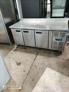 Polar commercial 3 door prep bench fridge pizza takeaway restaurant