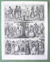 GERMAN Austria People Costume Tyrol Bohemia Illyria - 1844 Print Engraving
