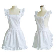 Women Retro White Princess Ruffles Apron Kitchen Cooking Maid Homewear One Size