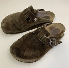 Birkenstock Boston Brown Suede Mules Slip On Clogs Shoes Women's 41 EU, 10 US