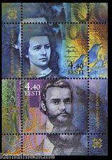 Estonia 2002 MNH SS, Estonian Kroon, Money, Poetess Lydia Koidula, Write  - Jw13