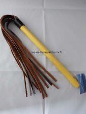 Martinet manche bois avec lanières en cuir,martinet 51 cm ,manche 25 cm, fouet