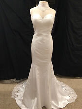 Sz 14 Vintage Inspired white mermaid wedding dress, white satin mermaid dress