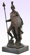 Bronzefigur - Bronze Krieger Ares der Kriegsgott mit Speer auf Marmorsockel