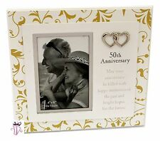 50th Wedding Anniversary Gift 4x6in Patterned Photo Frame Anniversary Present