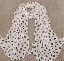 Women's Black & White Polka Dot Scarf Soft Chiffon Scarves Long Wrap Shawl