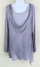 Soft Surroundings M Wisteria Purple Silk Draped Angelique Top LS Tunic Jersey