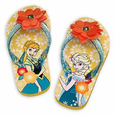 Disney Store Girls Anna & Elsa - Frozen - Flip Flops, Yellow, Size 2/3