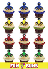 FIDGET SPINNER MIX Standup Cake Toppers. Novelty Fun Party Edible Wafer