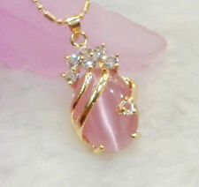 Fashion Pink Opal 18KGP Crystal Women Lady Girl Party Pendant Chain Necklace