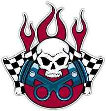 "Racing Skull Car Bumper Window Tool Box Sticker Decal 4""X5"""