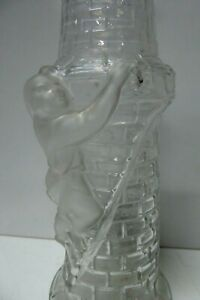 VINTAGE DEPOSE FRANCE ART GLASS DECANTER BOTTLE & STOPPER PEOPLE CLIMBING TOWER
