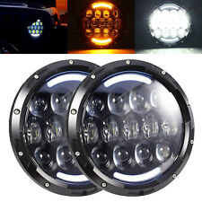 """7""""inch Round Black Projector LED Headlights with DRL Amber Turn Fit Jeep JK TJ"""