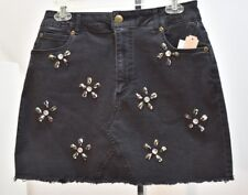 Gianni Bini Black Embellished Denim Skirt Sz LG