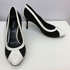 DOLCE & GABBANA SHOES BLACK AND WHITE SUEDE & PYTHON CLASSIC STYLE SIZE 35 1/2