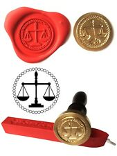 Wax Stamp, SCALES OF JUSTICE Coin Seal and Red Wax Stick XWSC148-KIT