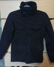 Men's Bench black fleece lined smart funnel neck military utility coat size S.