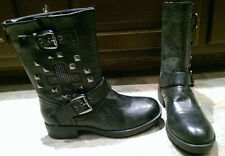 Report Stefan Black Studded Cross Design Biker Boots Sz 6.5M