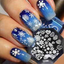 Nail Art Stamping Plates Image Plate Christmas Snowflakes Hearts Love (QA86)