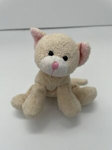 "Russ Luv Pets Tabbies Kitty Cat Bean Bag Cream Yellow Stuffed Floppy Toy 5"""