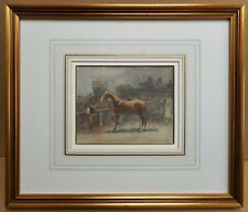 Auction of a Bay Hunter Horse. Watercolour by listed artist John Atkinson c1910