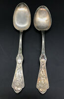 Set of 2 Rare PEARL (1898) REED & BARTON Silverplate Serving Spoons Art Nouveau
