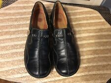 Women's Structured by Clarks Black Leather Slip On Flats Shoes Size 5.5M