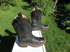 Justin Boots / Black Leather Roper Boots / Us Men 7 1/2 B / Pre-Owned / Usa