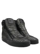 Giuseppe Zanotti Homme Gunmetal Pleated Leather Sz 43/10 Men's High Top Sneakers
