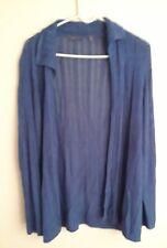 Amber Sun Size M Slinky Knit Open Front Cardigan Sweater Long Sleeve Blue