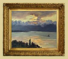 CHARLES WISLIN (1852-1932) PEINTURE IMPRESSIONNISTE VUE SUR LE LAC LEMAN (121)