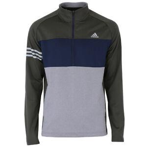 adidas Herren Golf 3-Streifen Competition Golfshirt Zip Golfpulli Sweat Langarm