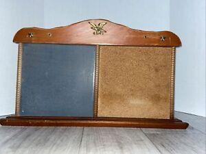 Vintage Hanging Message Board American Eagle Cork & Chalkboard Wood Frame USA