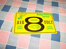 Sticker Badger Battery Service Big 8 Volt Powerful  3 7/8 x 6 1/4 Inches