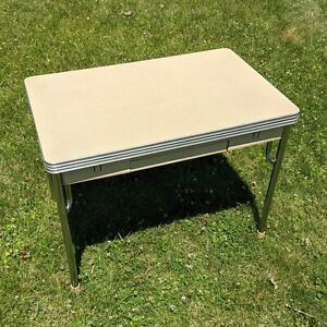 """Daystrom 43"""" x 40"""" Draw Leaf Table w/ Drawer - kitchen chrome vintage 50s double"""