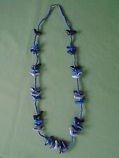 """Hand Crafted 31"""" Bead Strand Necklace Glazed Porcelain Bird Seal Dolphin Animal"""