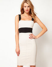 KAREN MILLEN EXQUISITE BLACK & NEUTRAL NUDE BOW BODYCON RARE DRESS 10 BNWT